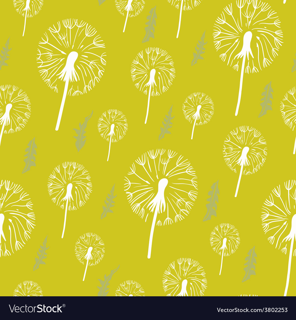 Hand drawn pattern of dandelion on a yellow