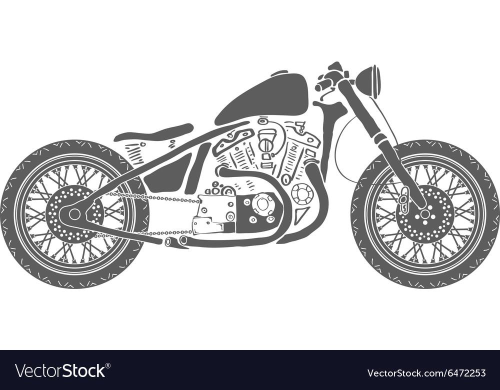 Hand Drawn Vintage Motorcycle