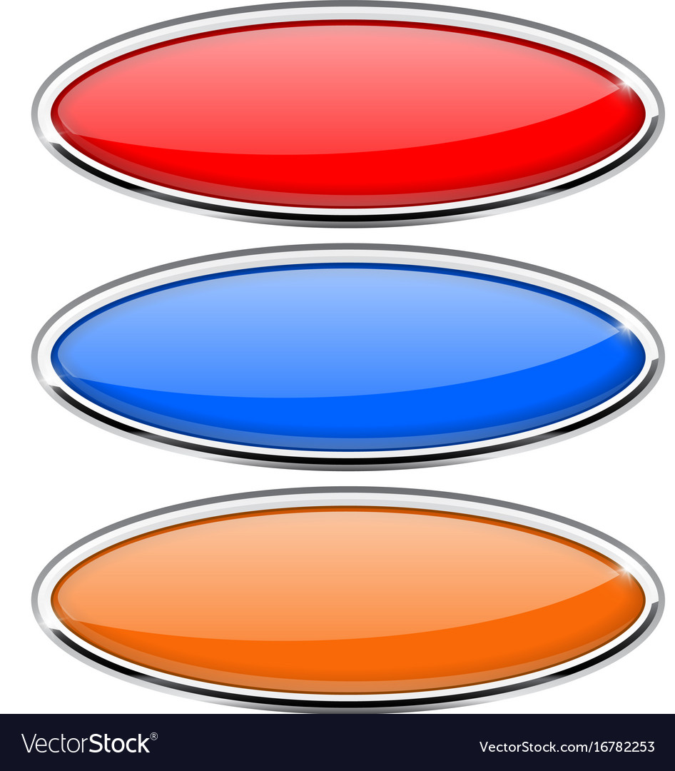 Oval glass buttons with metal frame colored set