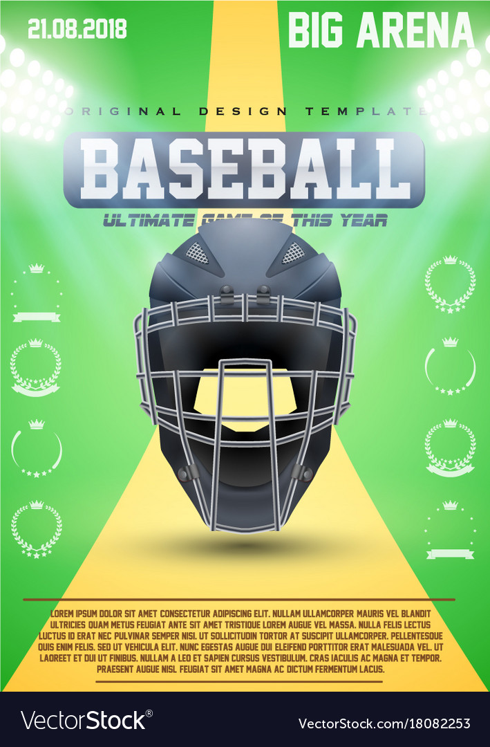 Poster template of baseball vector image