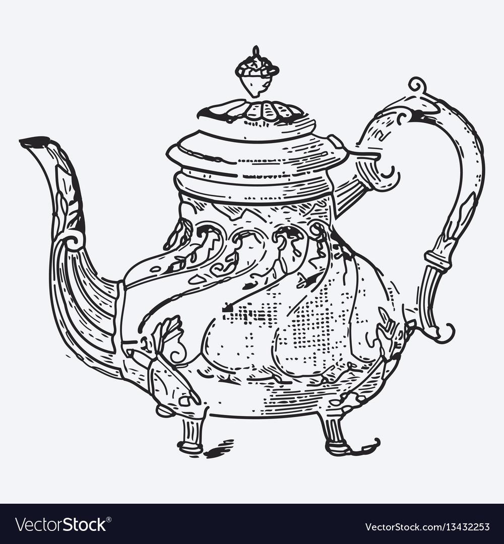 Vintage tea pot engraving ephemeral