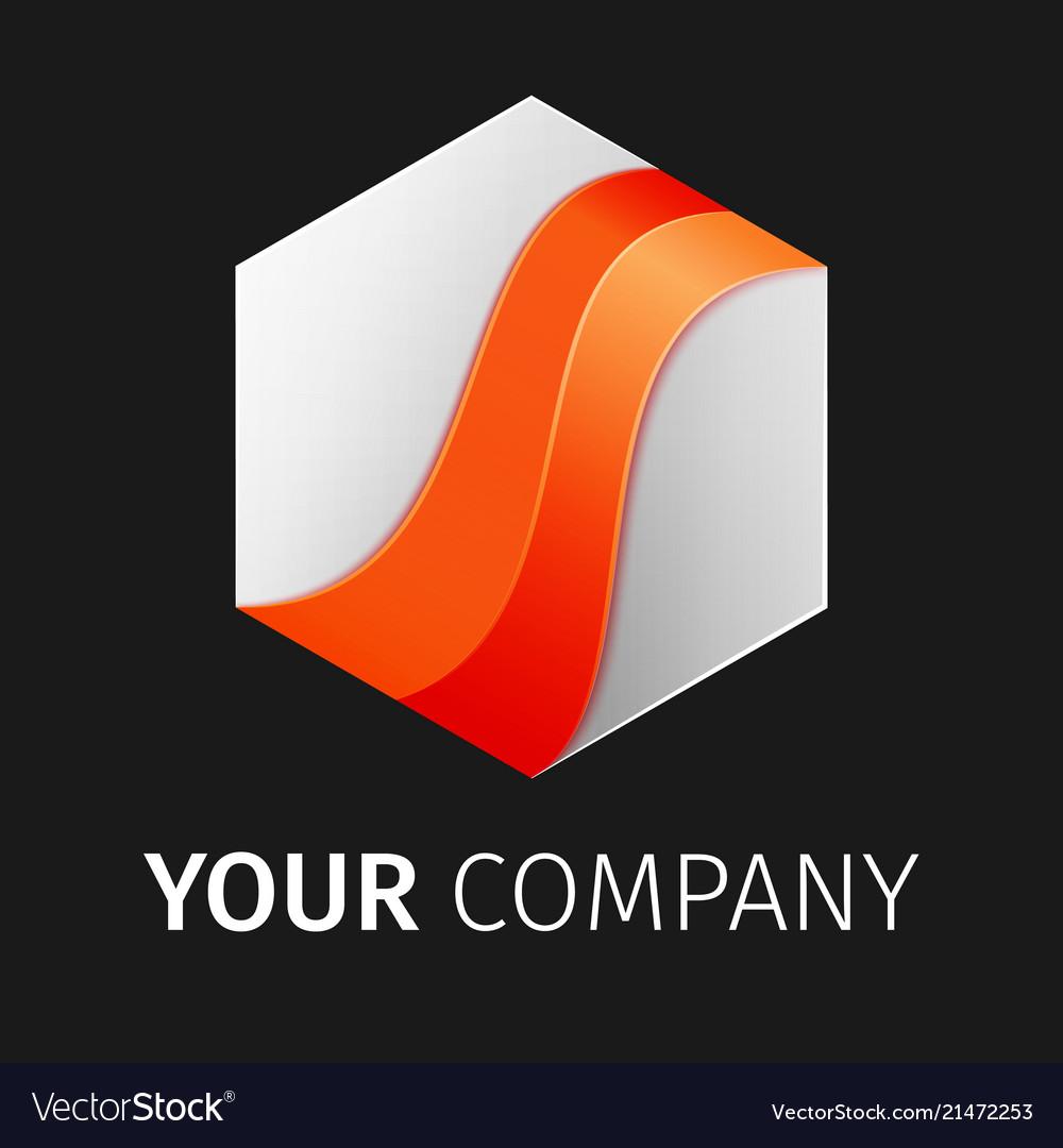 White and orange hexagon logo design ribbon
