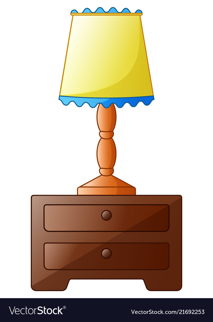 Wooden bedside table with lamp isolated on a white
