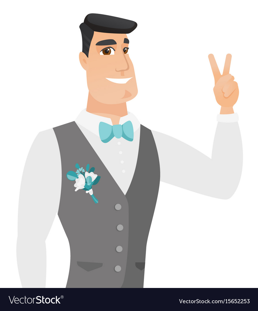 Young caucasiangroom showing the victory gesture vector image