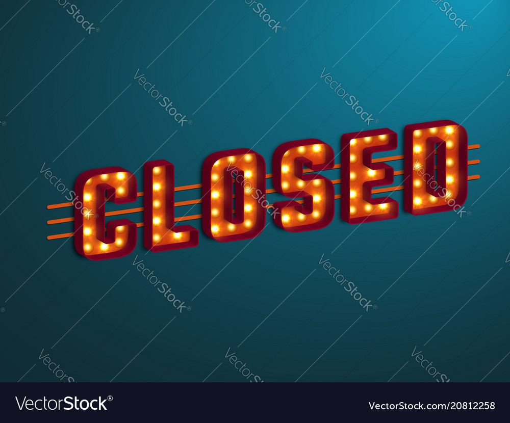 3d retro closed sign
