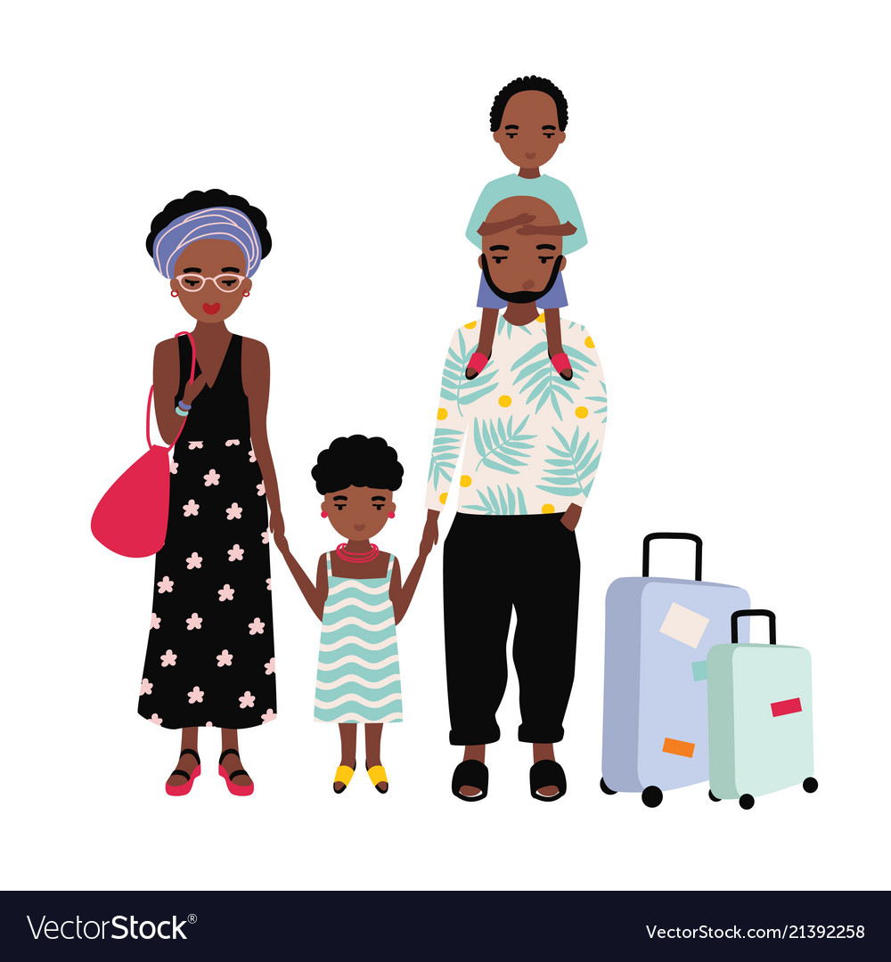 African american family on vacation mother