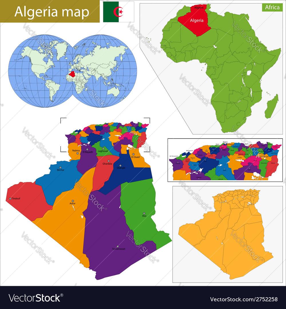 Image of: Algeria Map Royalty Free Vector Image Vectorstock