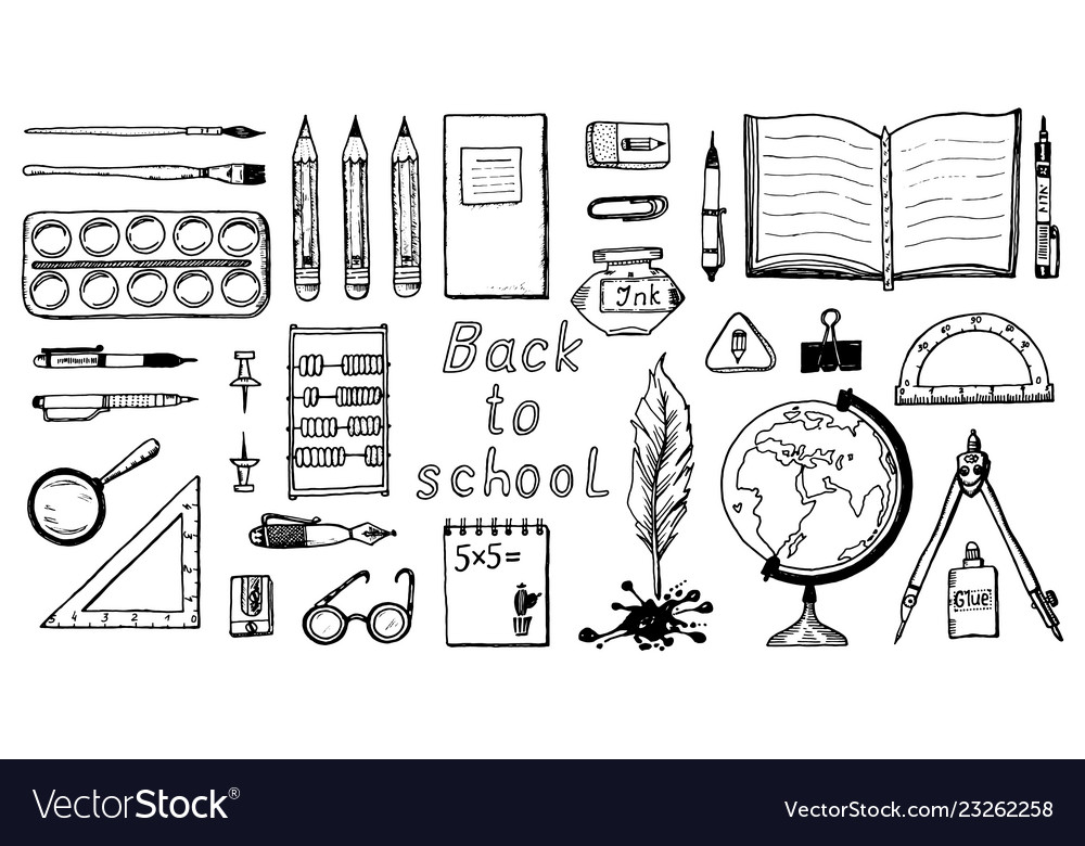 Back to school doodle symbols and objects set of