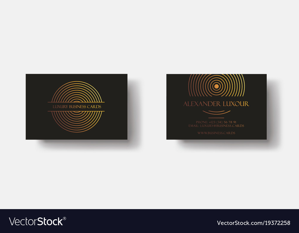Black gold luxury business cards for vip event Vector Image