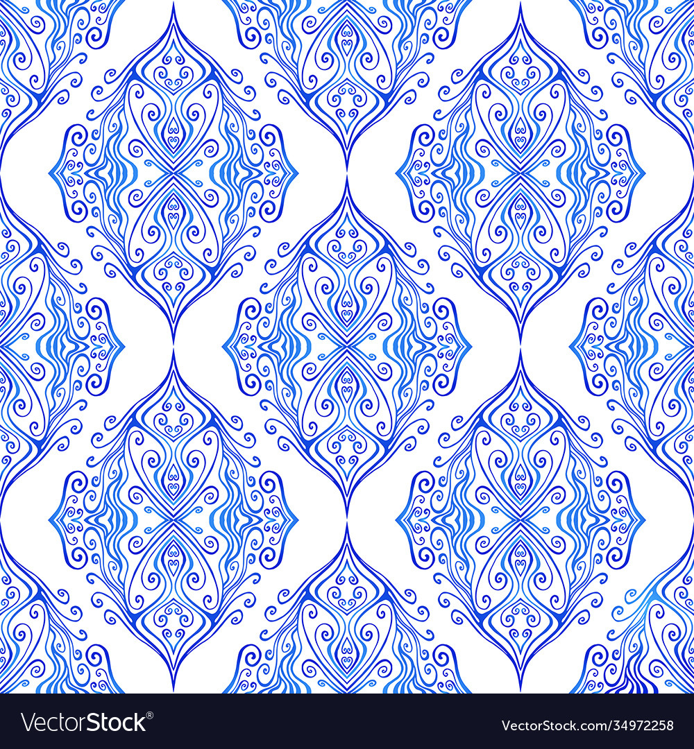 Blue colorful ottoman ethnic curly ornament