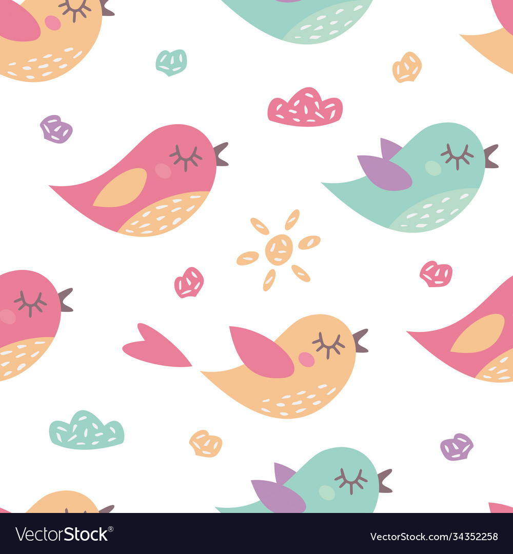 Childish seamless pattern with cute birds
