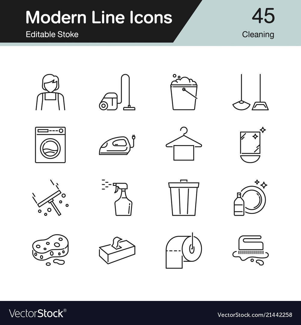 Cleaning icons modern line design set 45 for