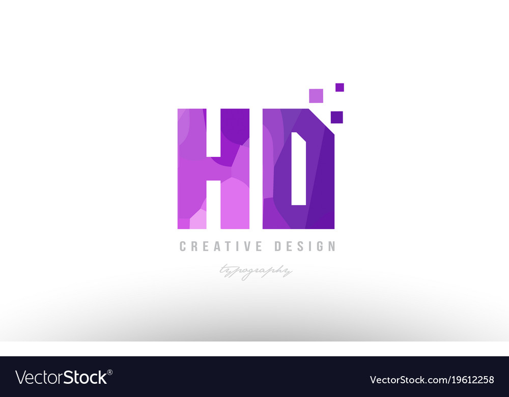 hd h d pink alphabet letter logo combination with vector image