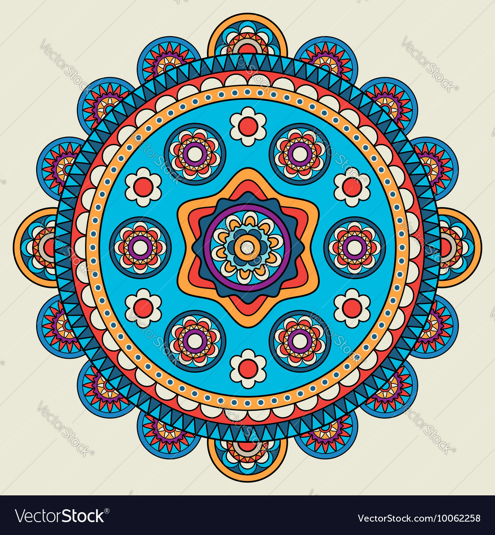 Indian doodle mehendi colored mandala vector image