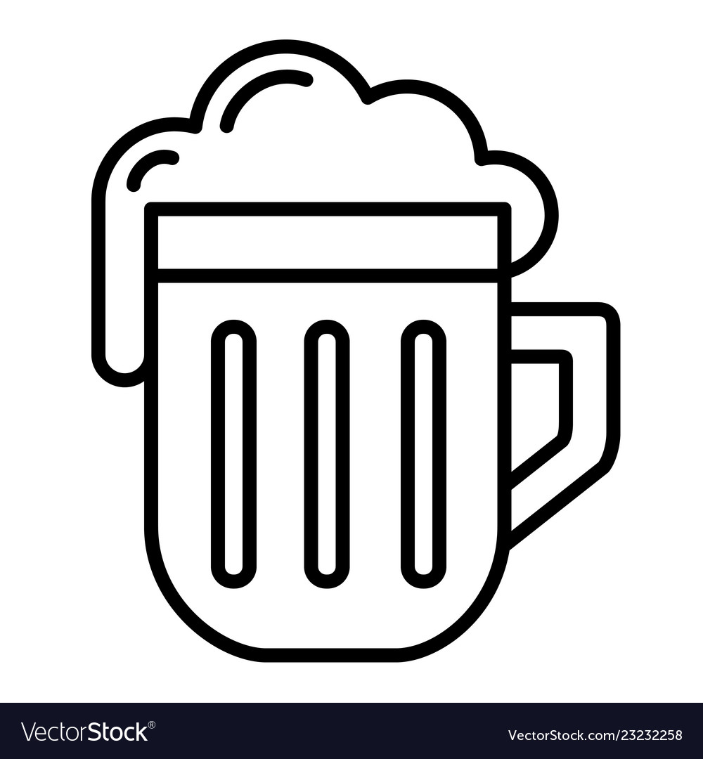 Isolated linear black outline beer icon simple