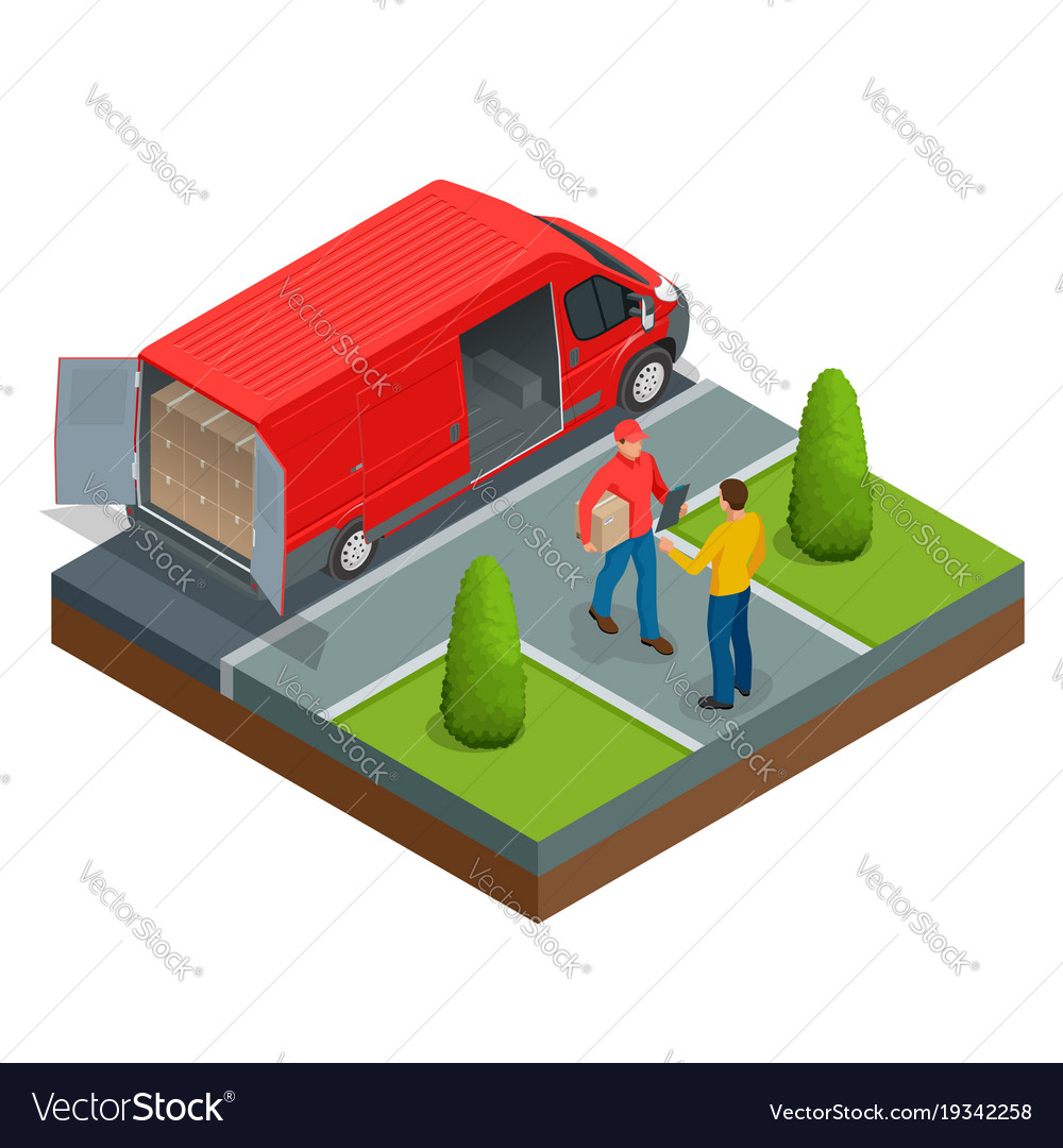 Isometric express delivery concept man accepting