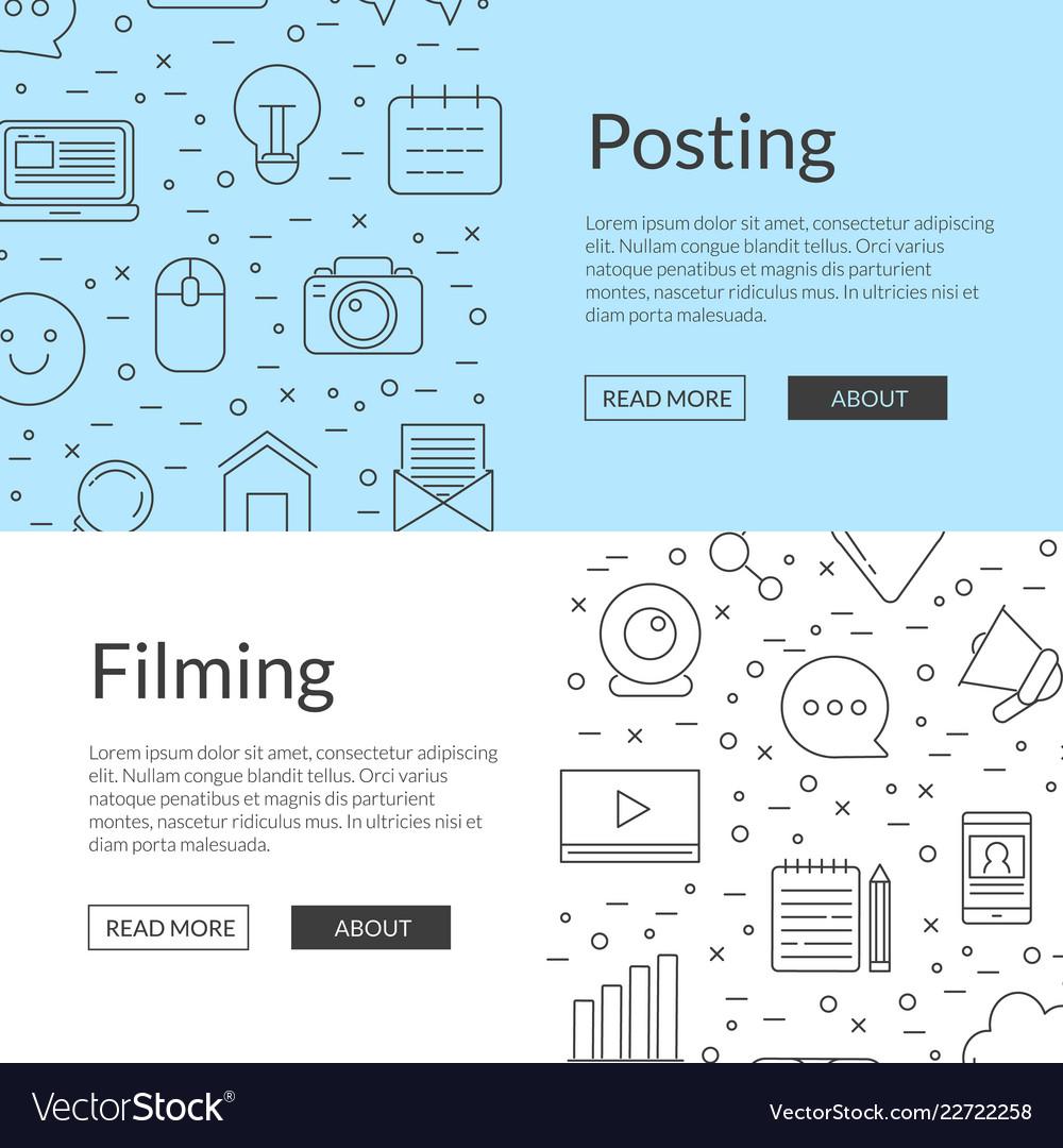 Line blog icons web banner templates