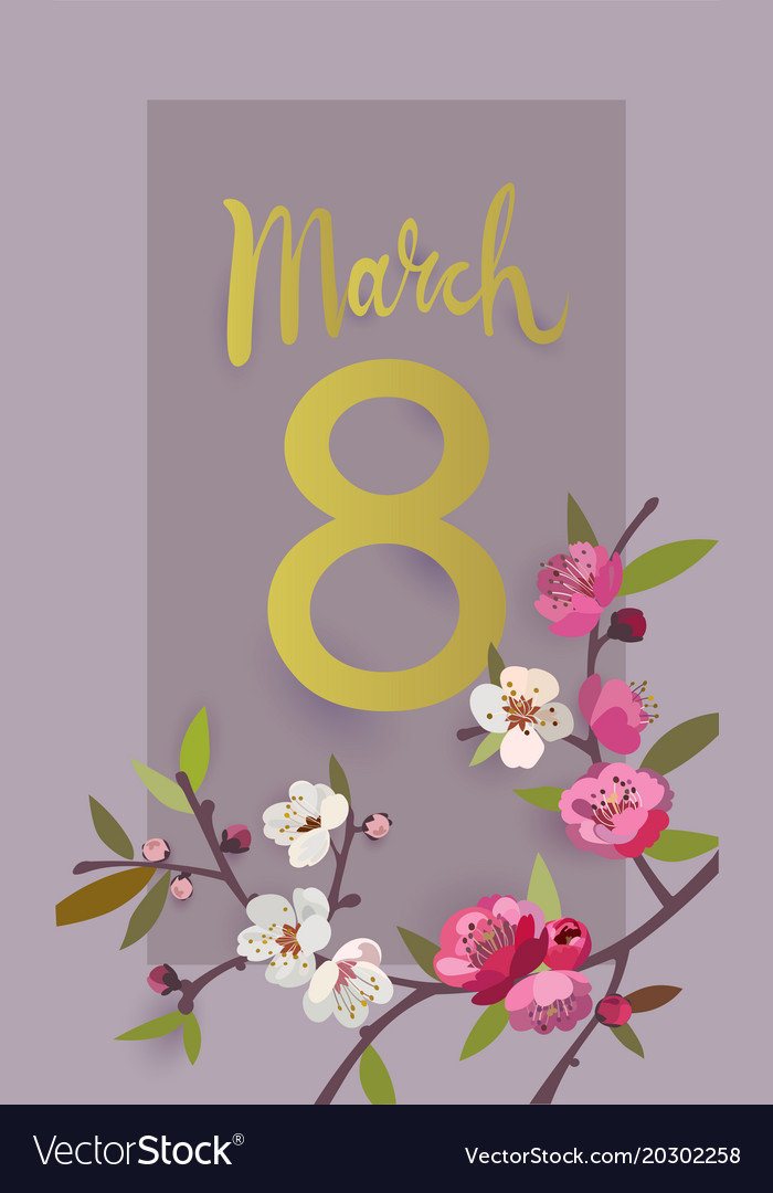 March 8 international womens day greeting card vector image