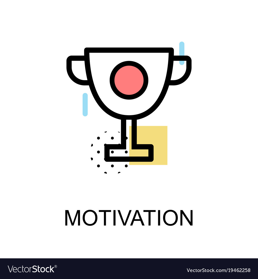 Motivation Icon With Trophy On White Background