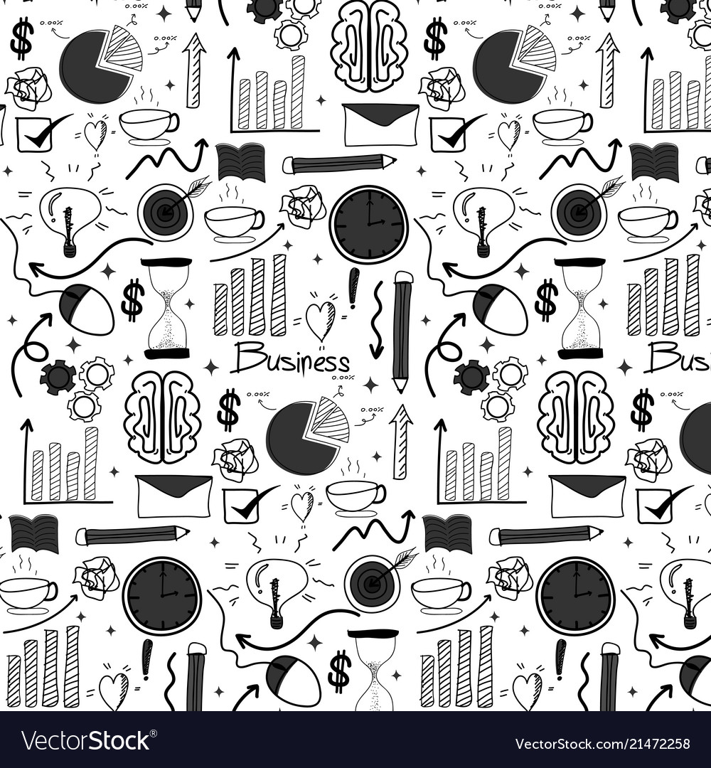 Pattern with doodle business background