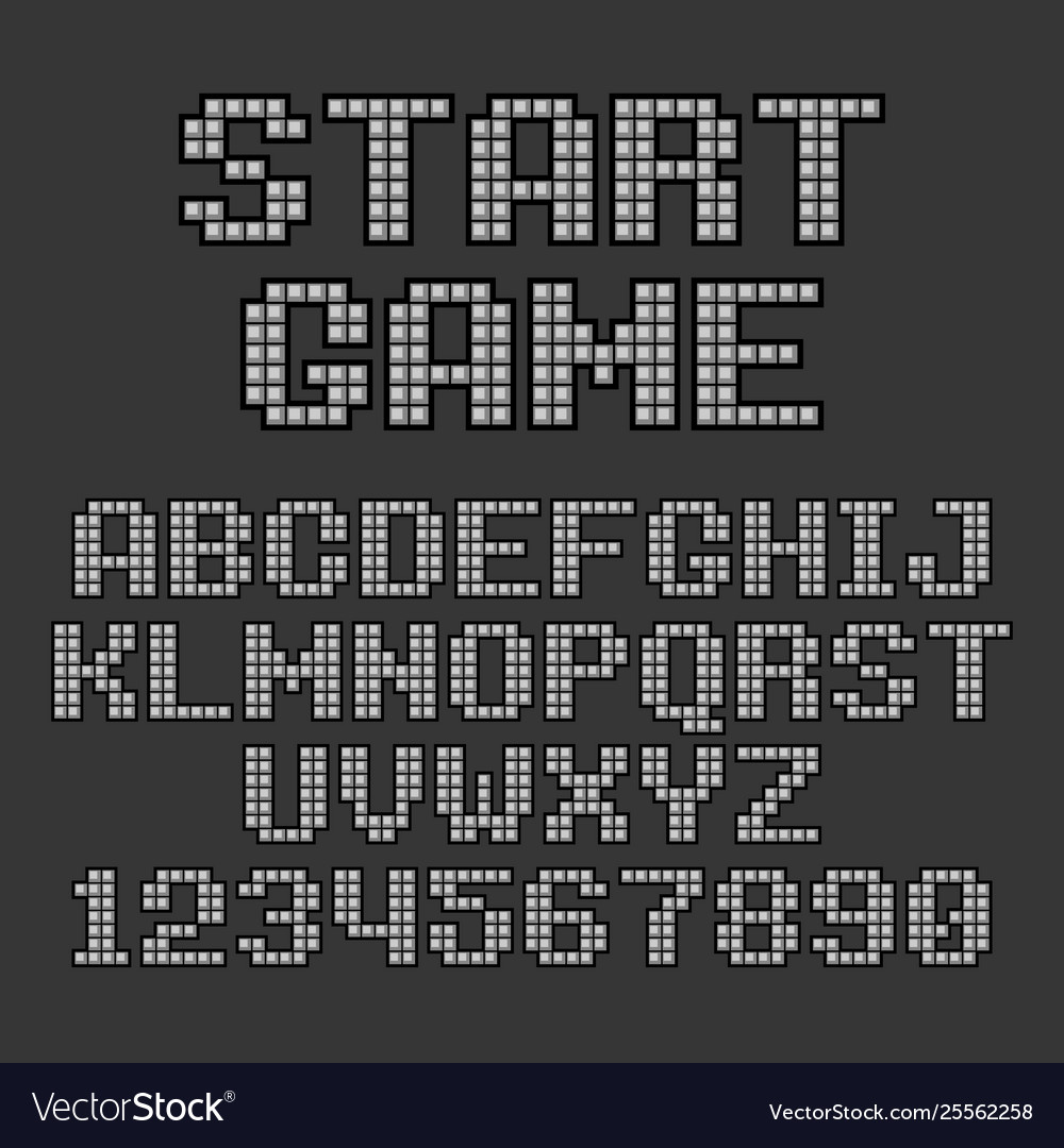Pixel retro style video game font