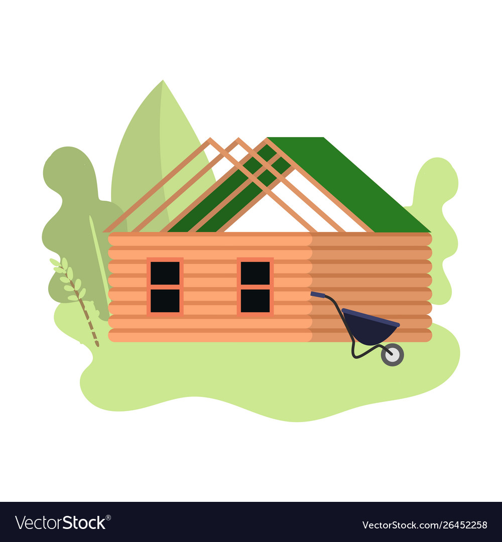 Small Wood House Under Construction With Green Vector Image