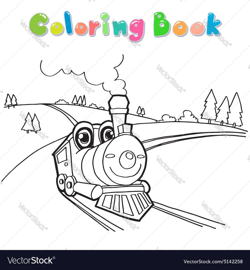 Train coloring page cartoon