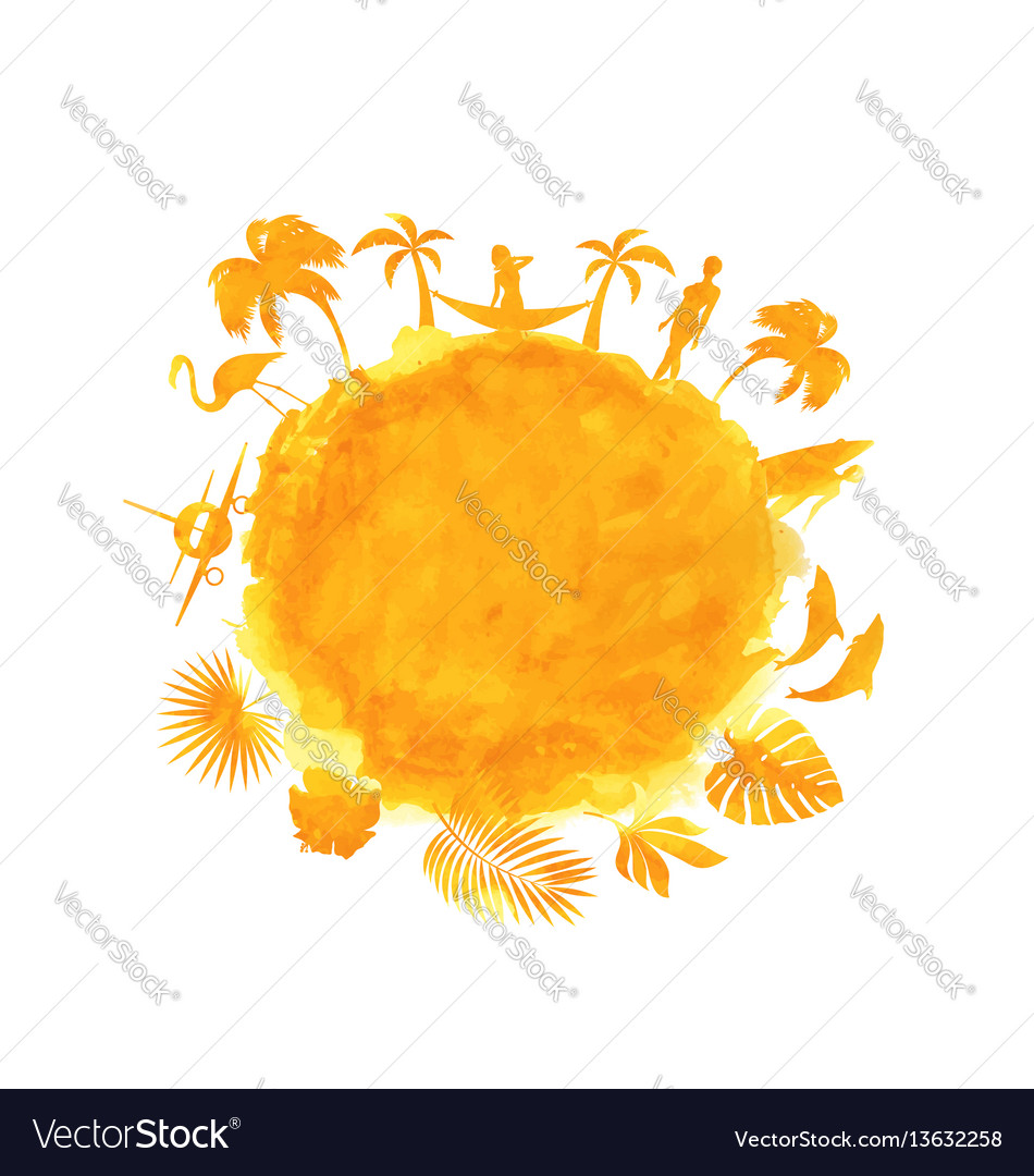 Tropical summer party banner orange watercolor vector image
