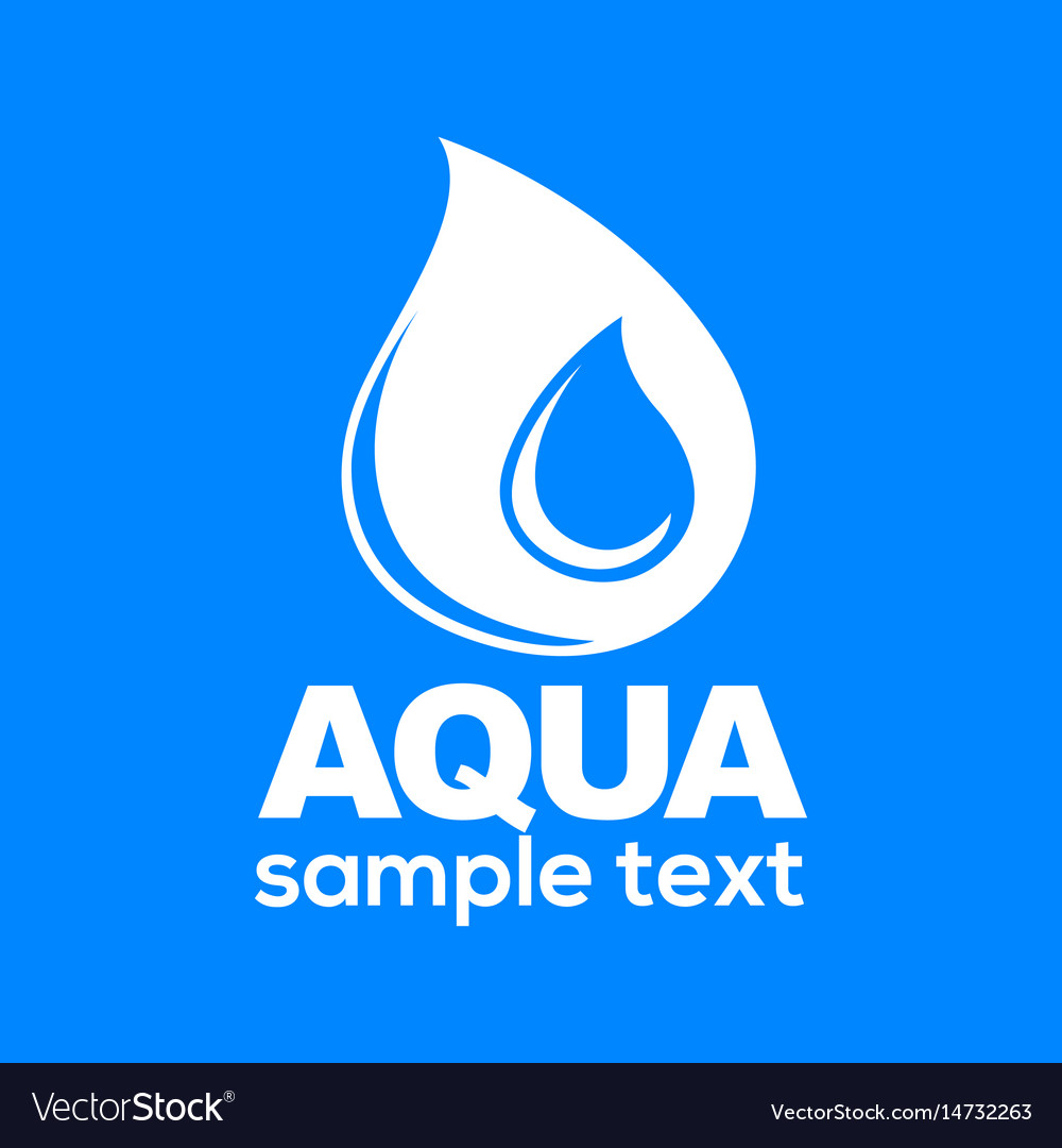 Aqua drop sign isolated on blue background