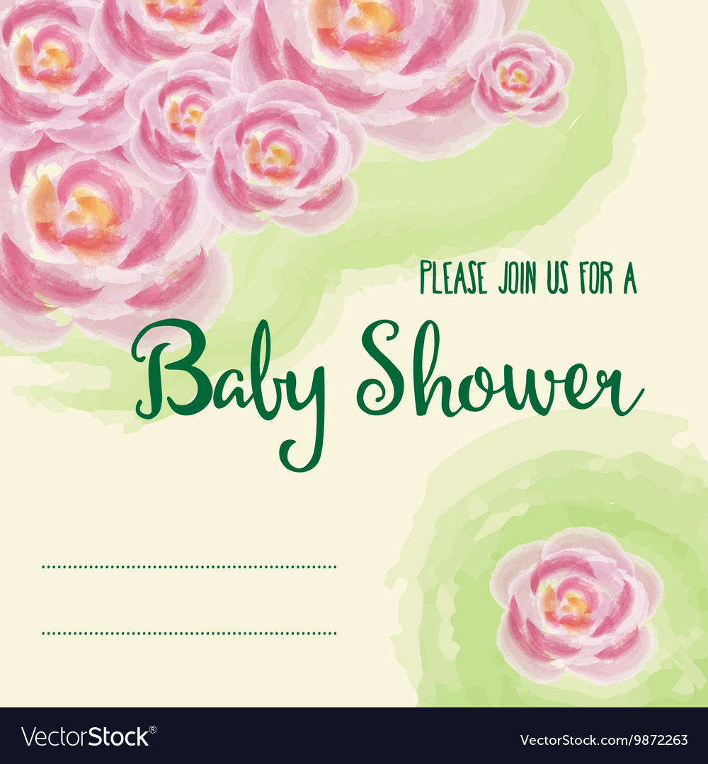 Baby shower card with watercolor flowers vector image