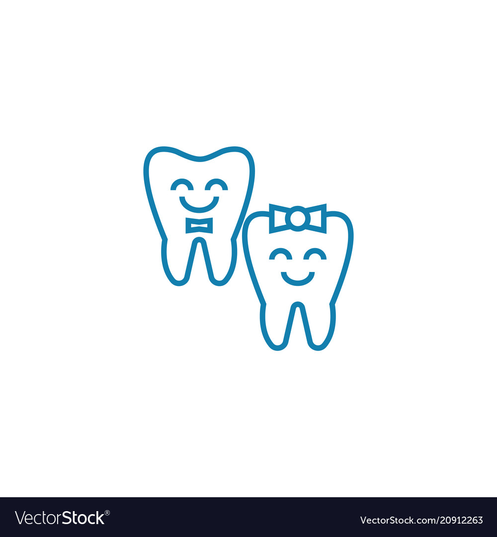 Baby teeth linear icon concept baby teeth line vector image