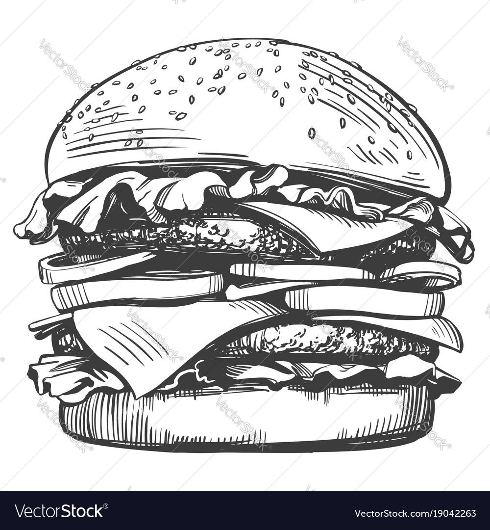 Big burger hamburger hand drawn