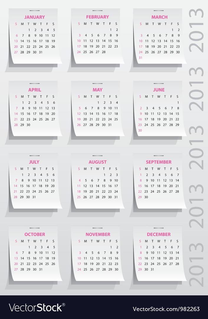 Calendar 2013 year vector image