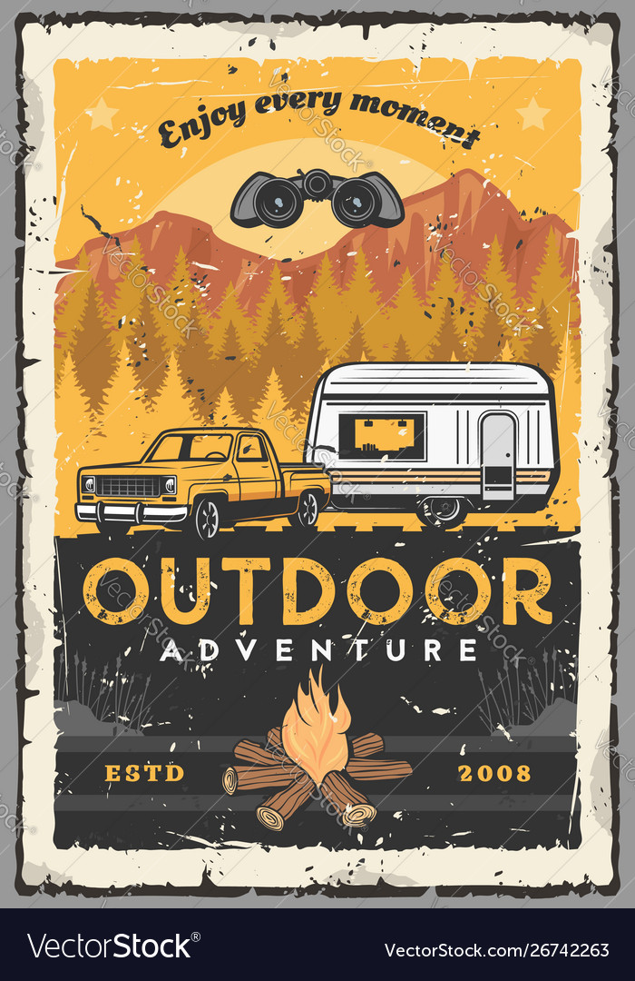 Car rv and campfire outdoor adventure travel
