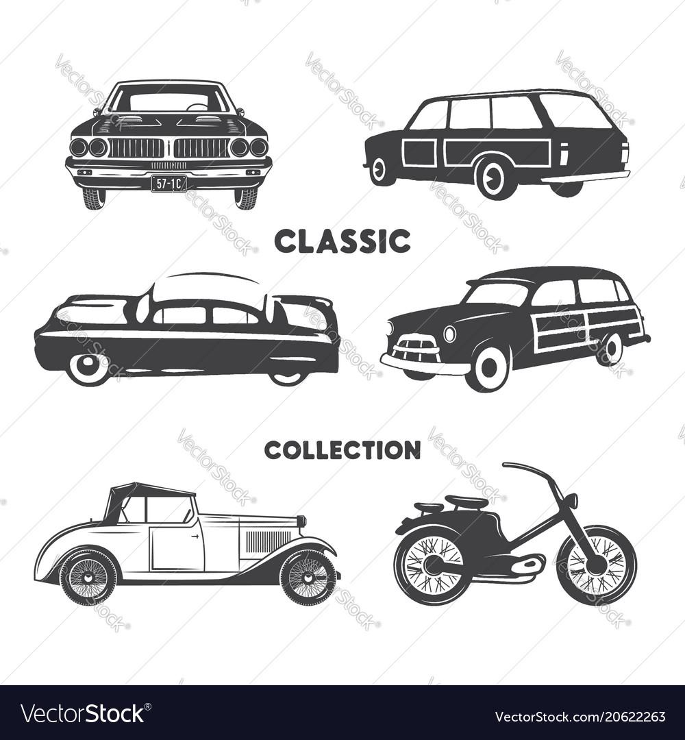 Classic cars vintage car icons symbols vintage