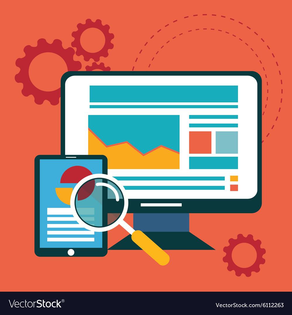Flat design modern icons set of website SEO