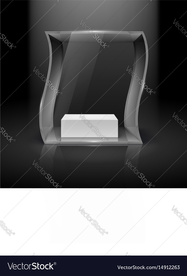 Glass showcase in wave form with spot light for vector image