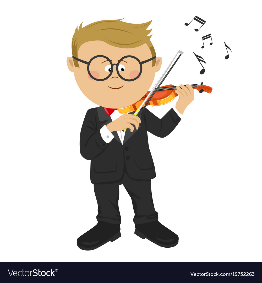 Little nerd boy with glasses playing violin