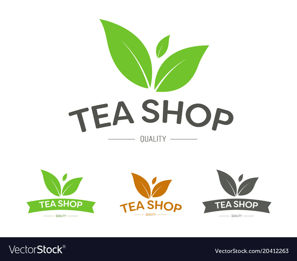 Logo for a tea shop or brand with three leaves
