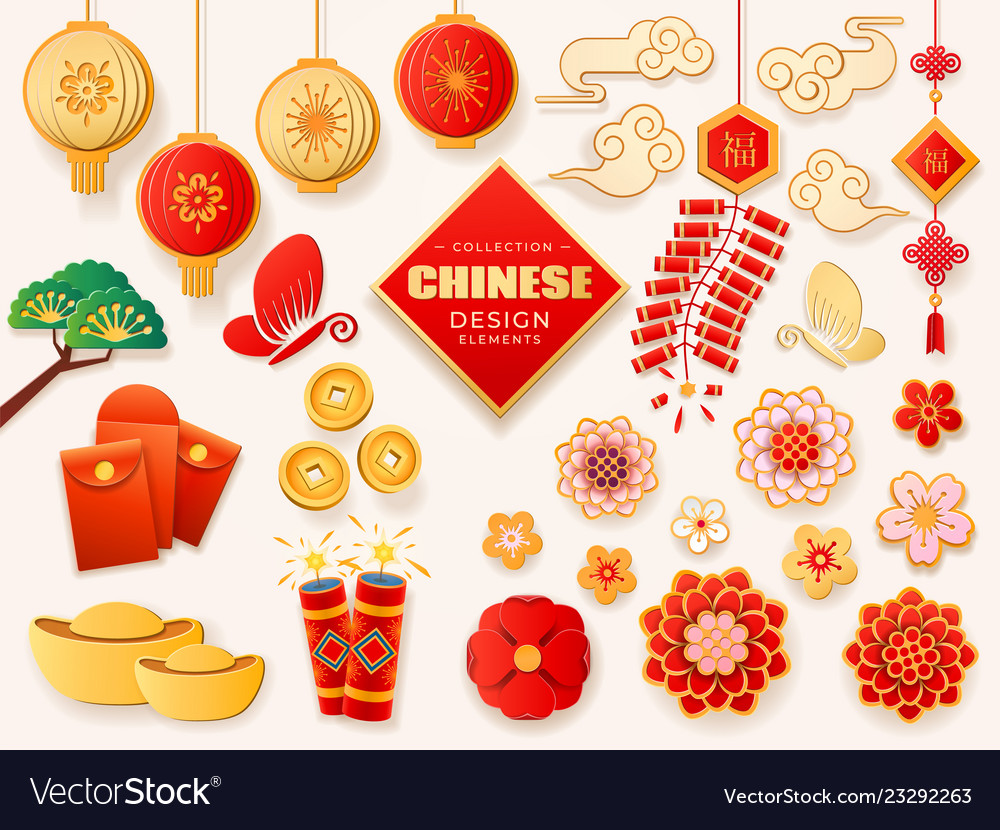 Set isolated asian or chinese design elements