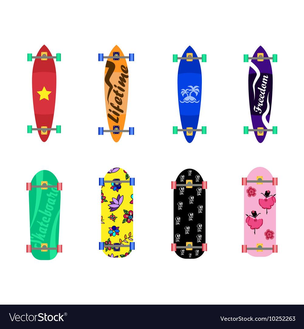 Set of skateboards on white background