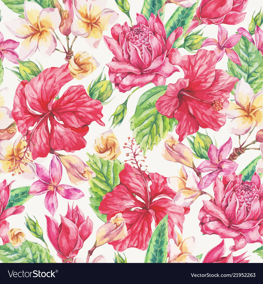 Vintage bright tropical flowers seamless