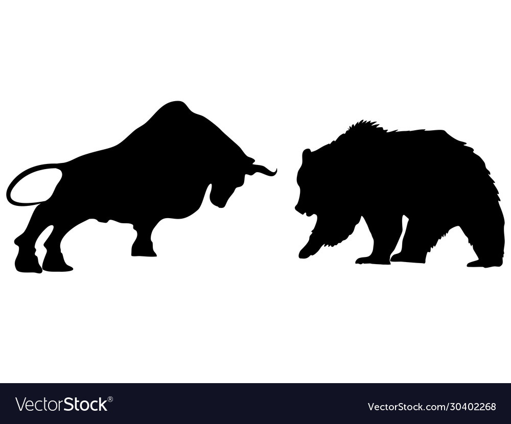 a bear fighting a bull in silhouette with stock vector image  vectorstock