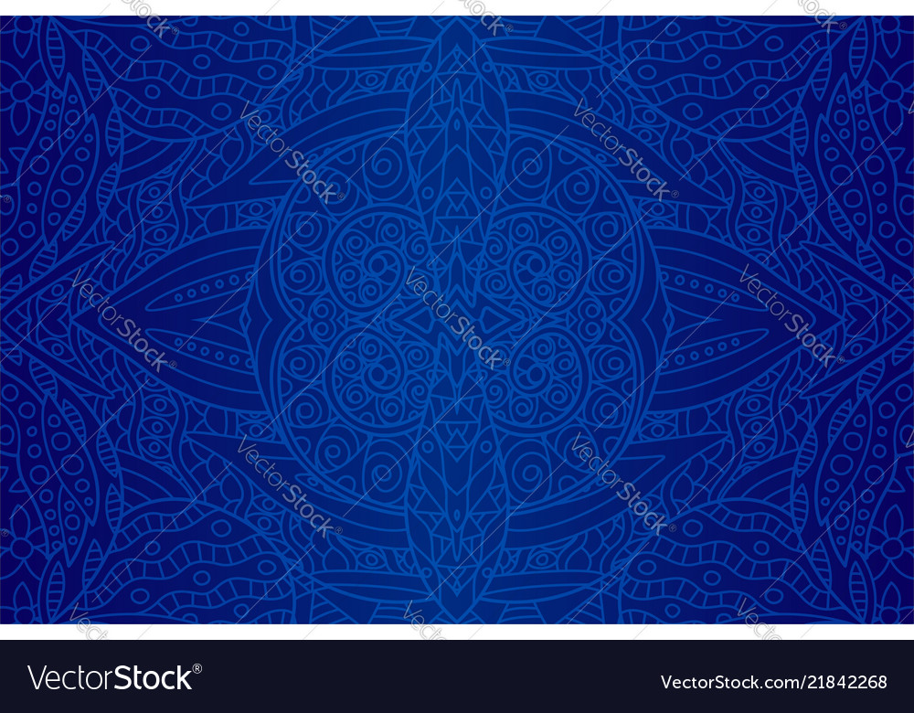 Beautiful art with seamless blue ethnic pattern