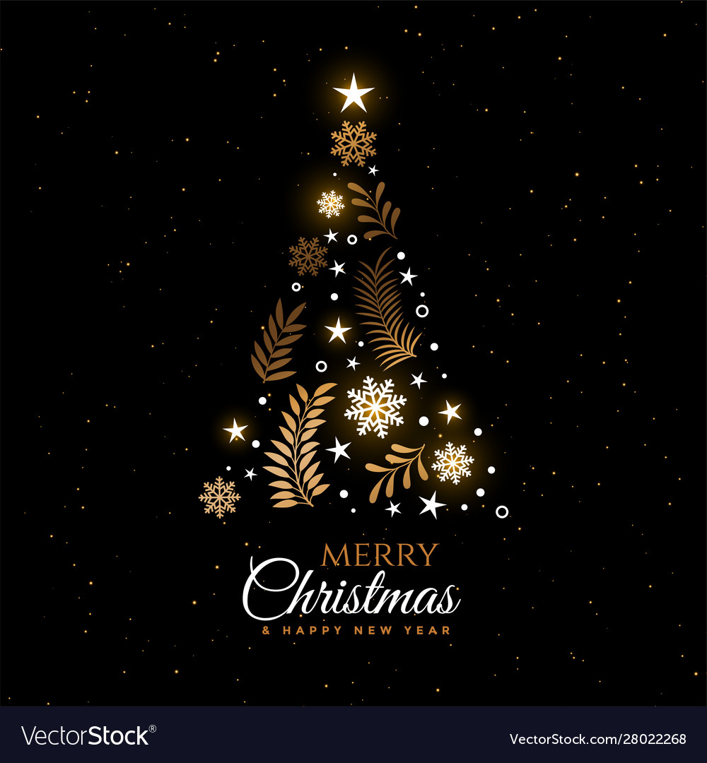 Beautiful Christmas Tree Decorative Greeting Card Vector Image