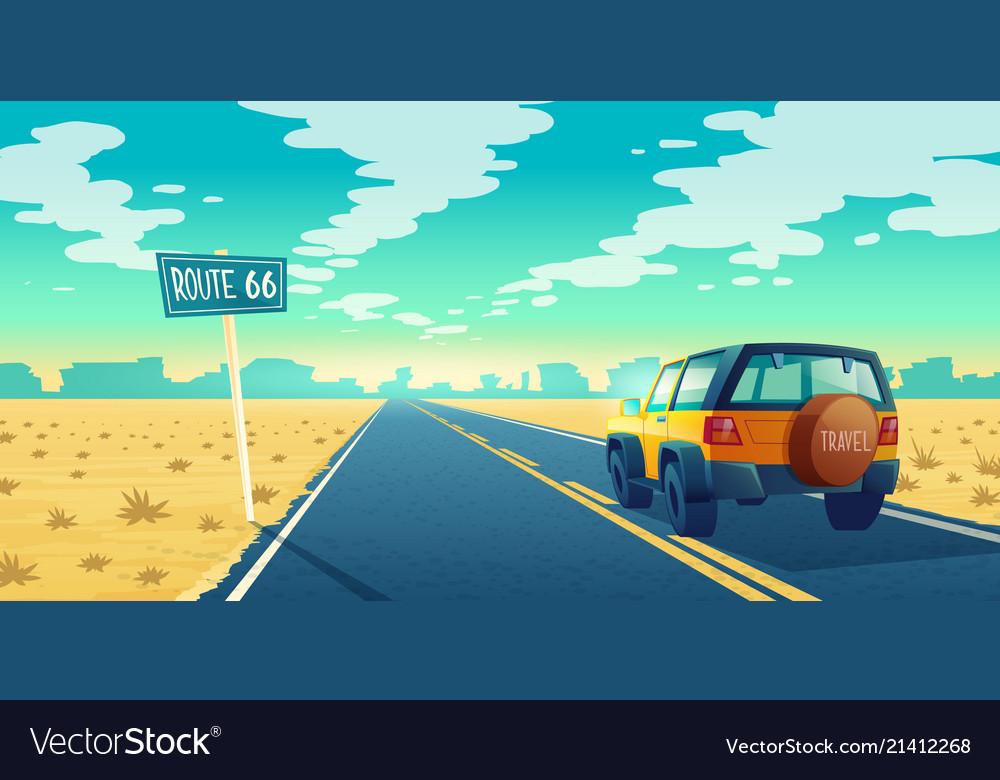 Cartoon desert landscape with road
