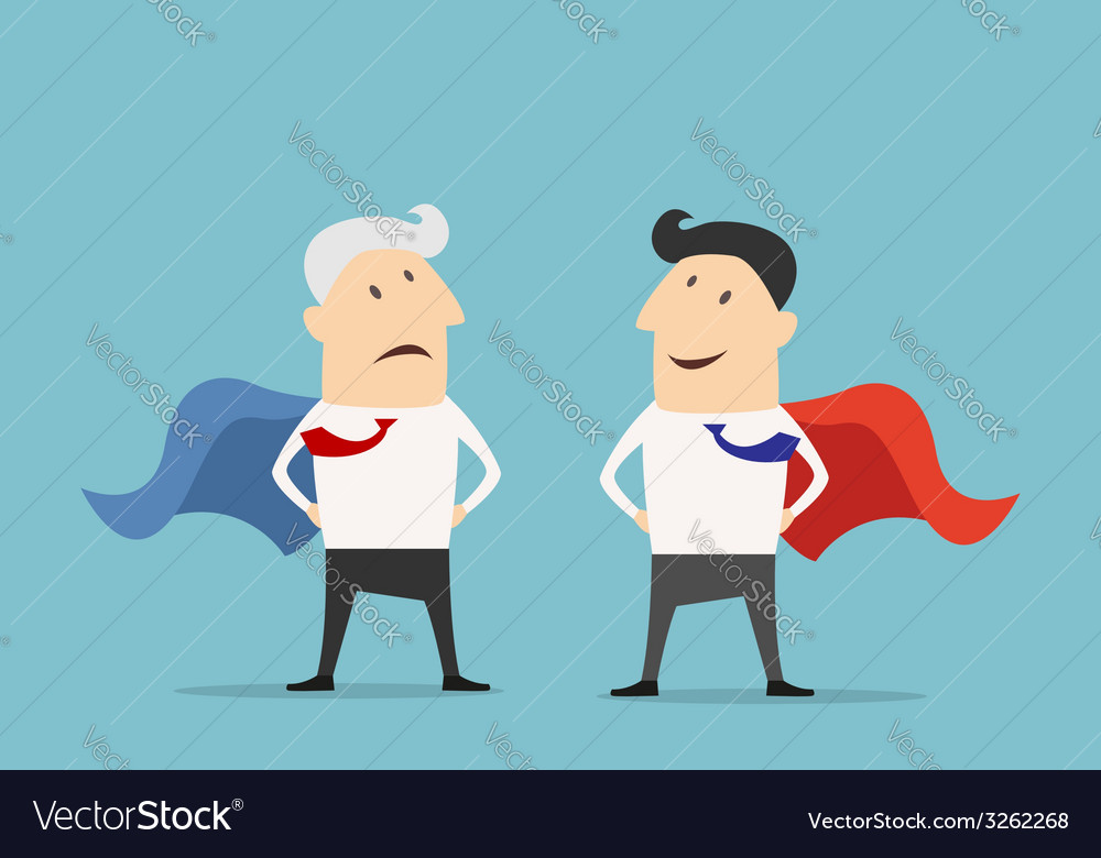 Cartoon Super hero businessman characters vector image