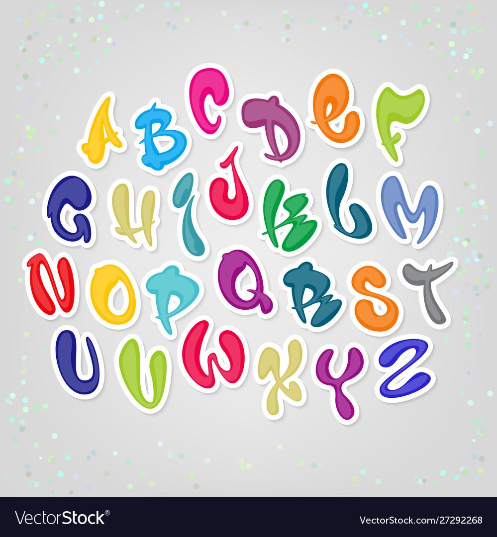 Colored cartoon comic font alphabet latin abc