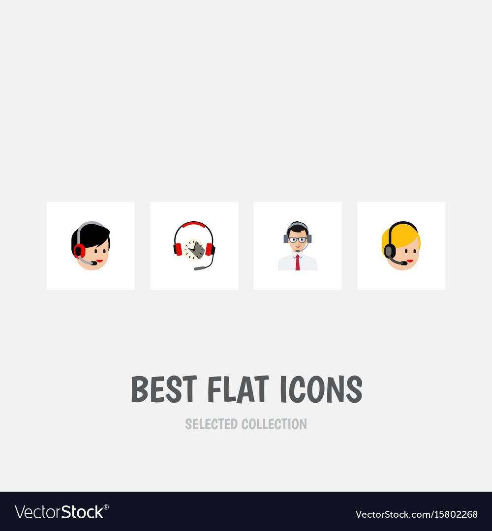 Flat icon call set of headphone call center