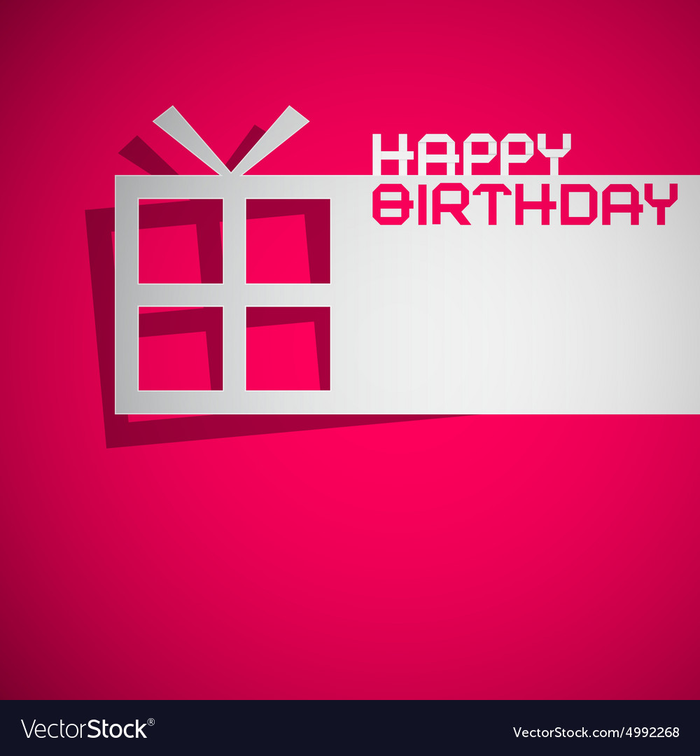 Happy Birthday Card with Paper Cut Gift Box on